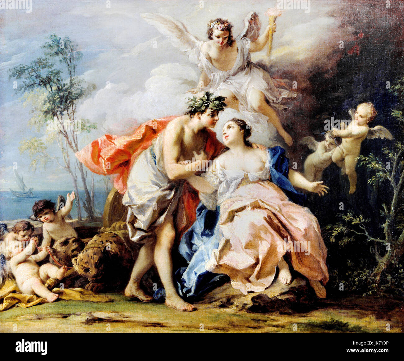 Jacopo Amigoni, Bacchus and Ariadne. Circa 1740-1742. Oil on canvas. Art Gallery of New South Wales, Sydney, Australis. - Stock Image