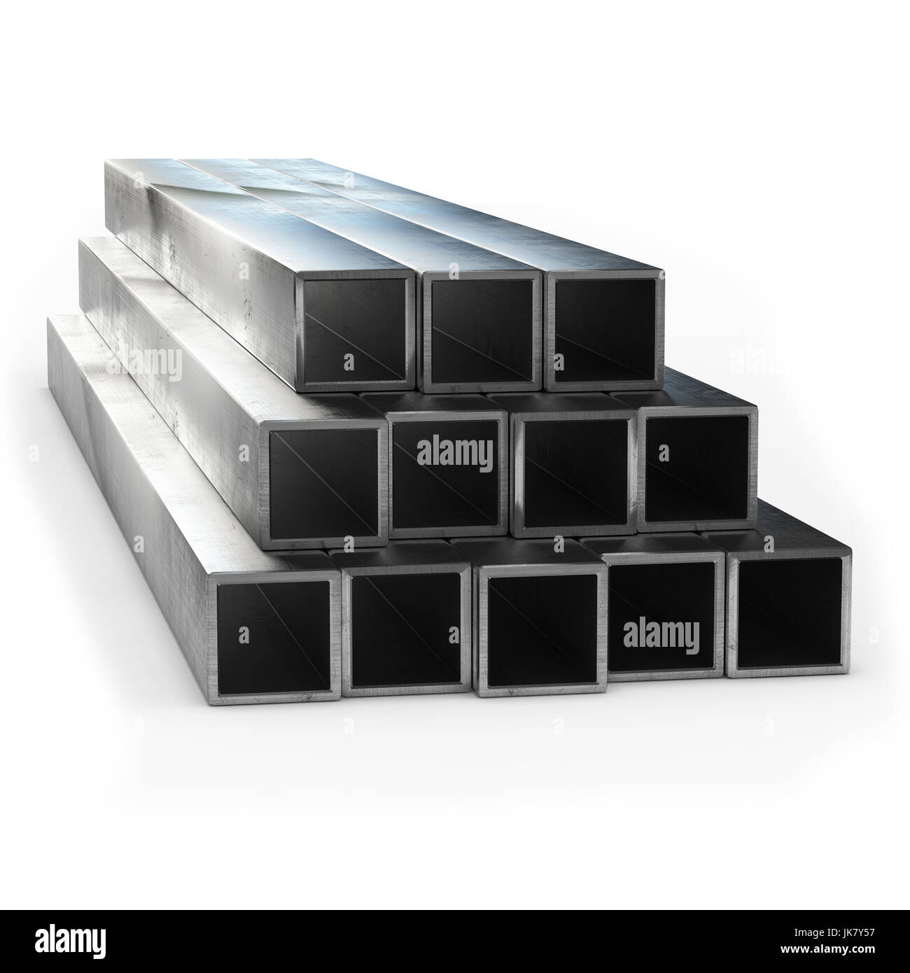 Stainless steel tube 3d rendering isolated. - Stock Image