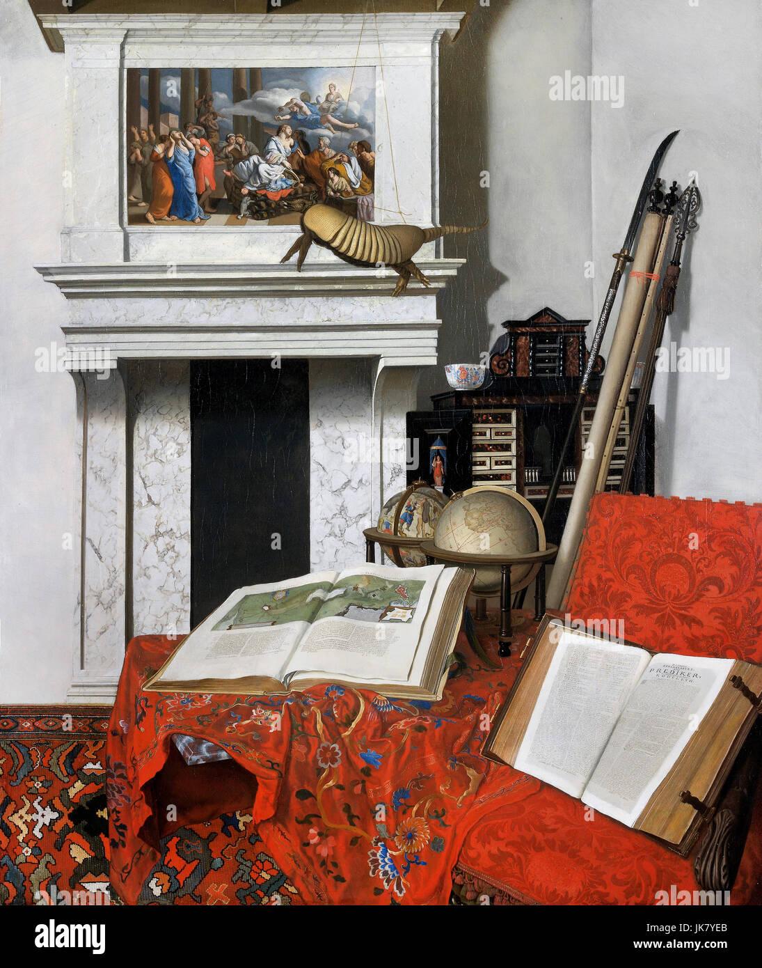 Jan van der Heyden, Room Corner with Curiosities 1712 Oil on canvas. Museum of Fine Arts, Budapest, Hungary. - Stock Image
