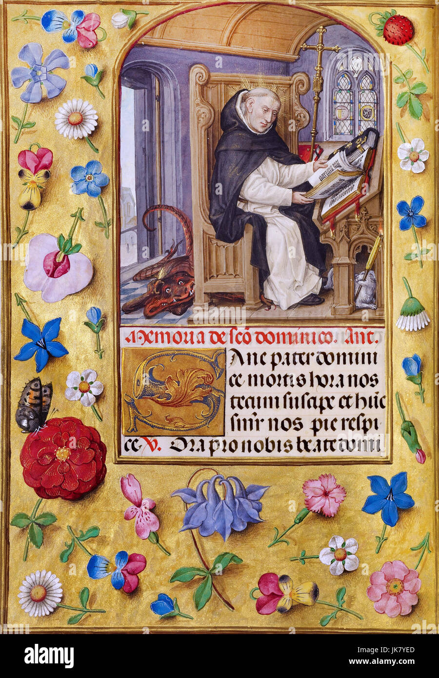 Master of James IV of Scotland, Saint Dominic 1510-1520 Tempera colors, gold, and ink on parchment. Los Angeles, - Stock Image