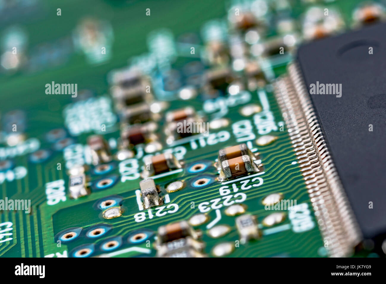 circuitboard stock photos \u0026 circuitboard stock images alamysurface mount technology (smt) components on a green printed circuitboard wiring inside computer