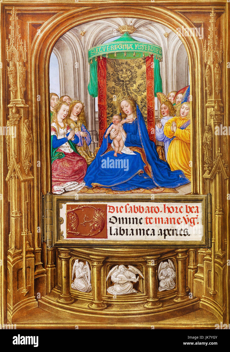 Master of James IV of Scotland, The Virgin and Child Enthroned 1510-1520 Tempera colors, gold, and ink on parchment. - Stock Image
