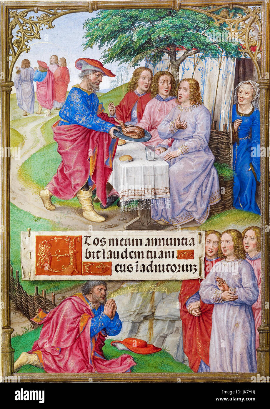 Master of James IV of Scotland, Abraham and the Three Angels 1510-1520 Tempera colors, gold, and ink on parchment. - Stock Image
