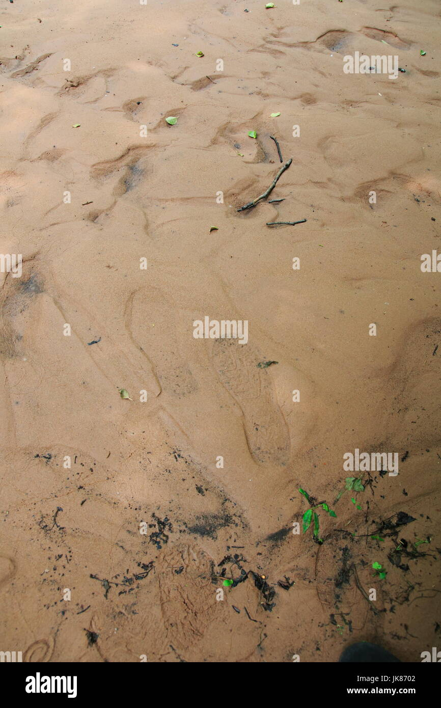 Schuh Fuß Spuren, Abdruck im Sand, im Schlick, Morast - Stock Image