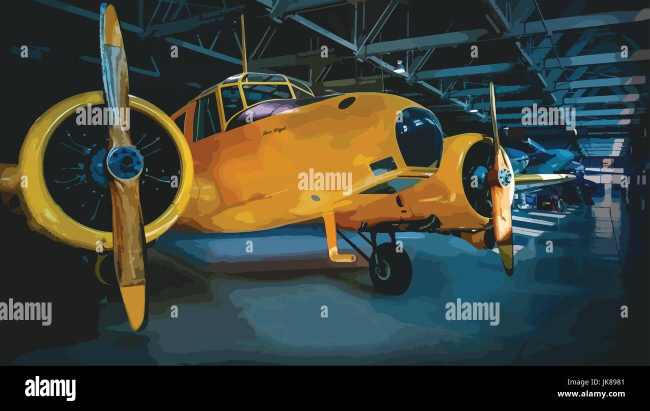 Aircraft. Avro Anson MK II The Avro Anson was developed from the company's Avro 652 airliner in 1935 to fulfill - Stock Vector