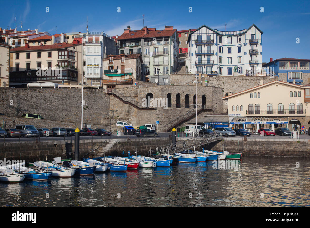 Spain, Basque Country Region, Guipuzcoa Province, Getaria, port view - Stock Image
