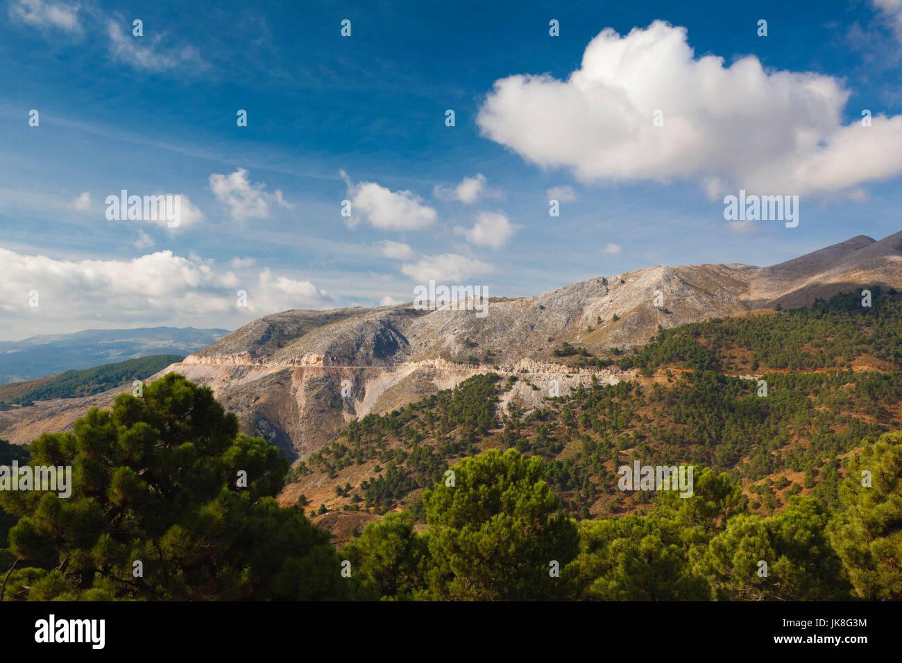 Spain, Andalucia Region, Malaga Province, Ronda-area, mountain landscape of the Serrania de Ronda mountains - Stock Image