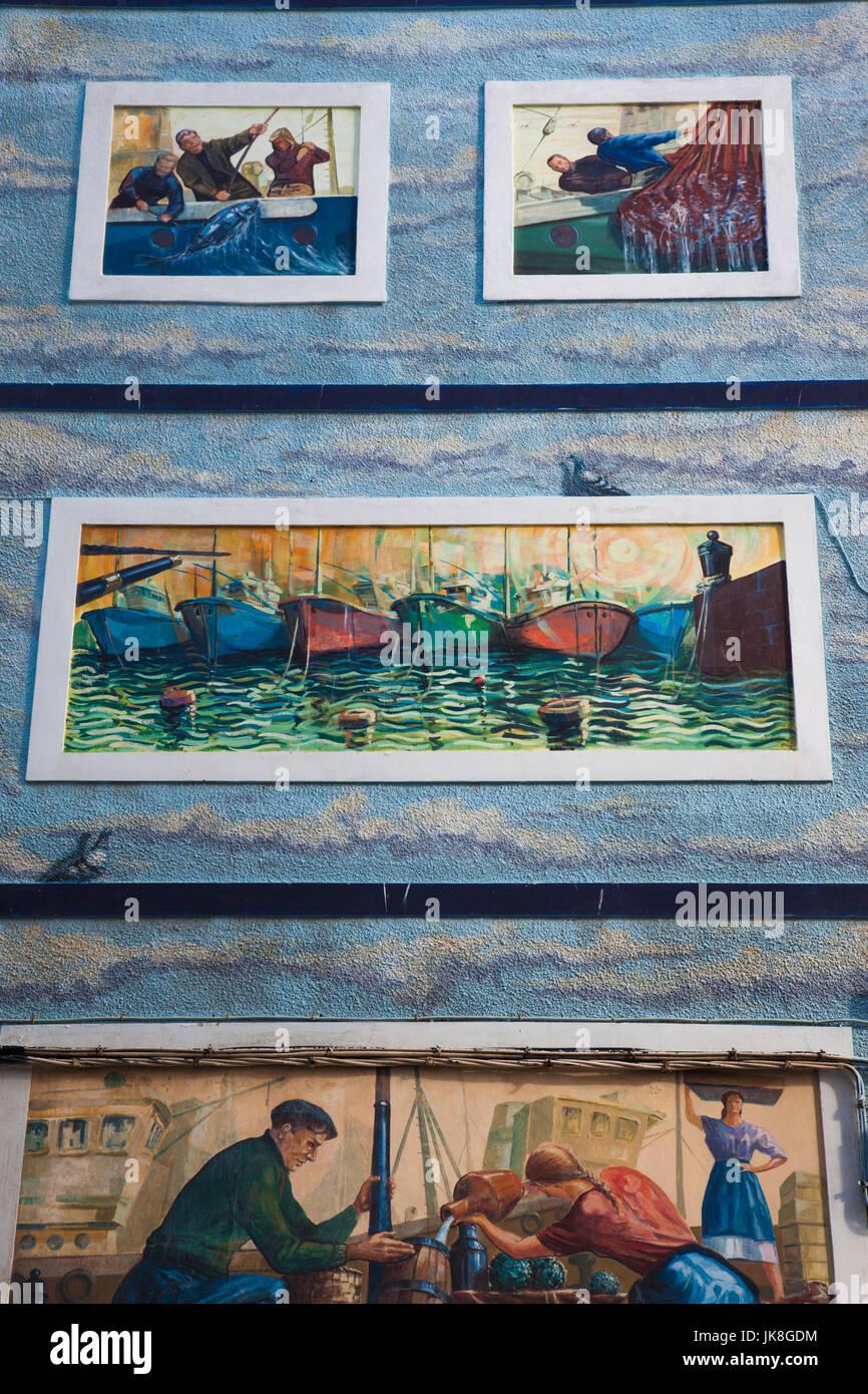 Spain, Cantabria Region, Cantabria Province, Castro-Urdiales, public art Stock Photo