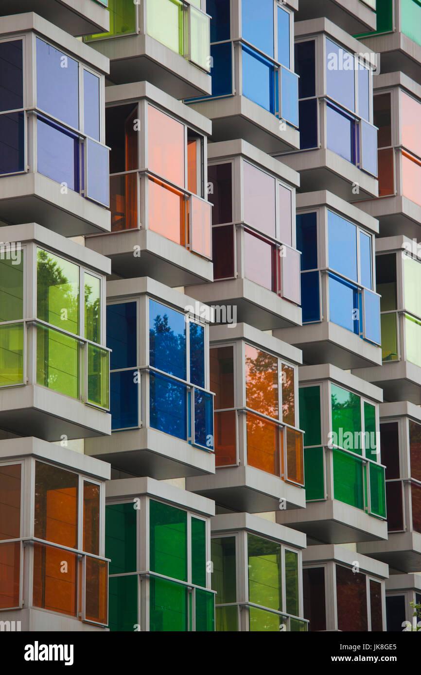 Spain, Basque Country Region, Vizcaya Province, Bilbao, colorful windows, Hesperia Bilbao Hotel Stock Photo