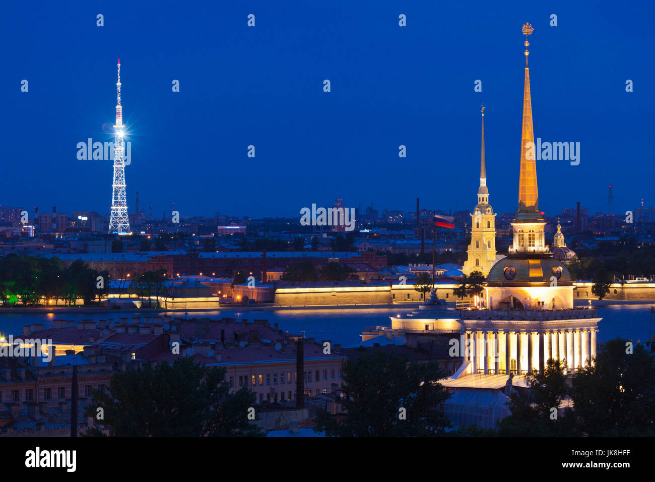 Russia, Saint Petersburg, Center, elevated view of the Television Tower, Peter and Paul Fortress, and the Admiralty - Stock Image