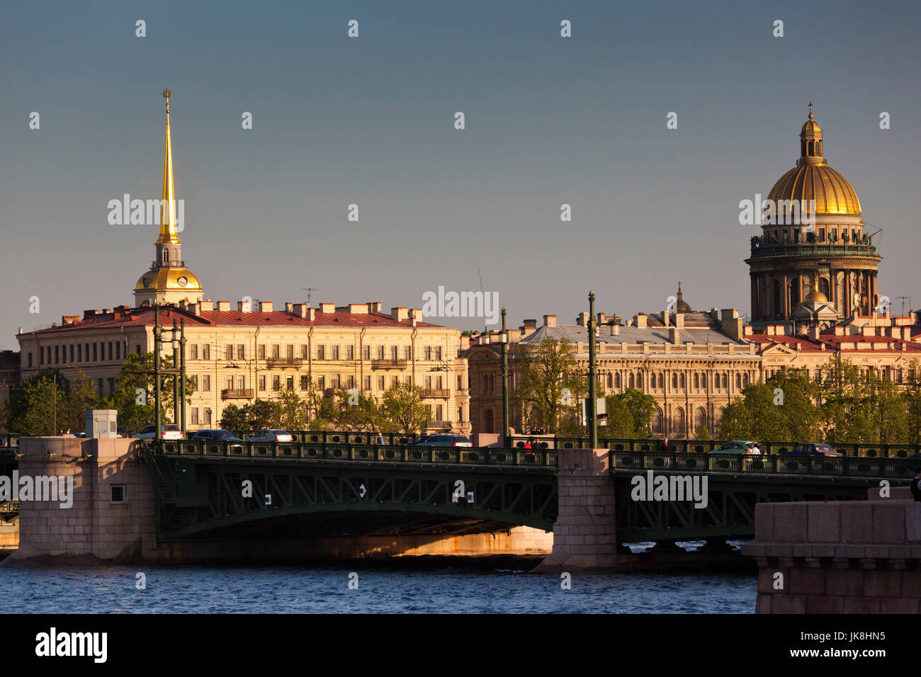 Russia, Saint Petersburg, Center, Admiralty and Saint Isaac Cathedral, from the Neva River - Stock Image