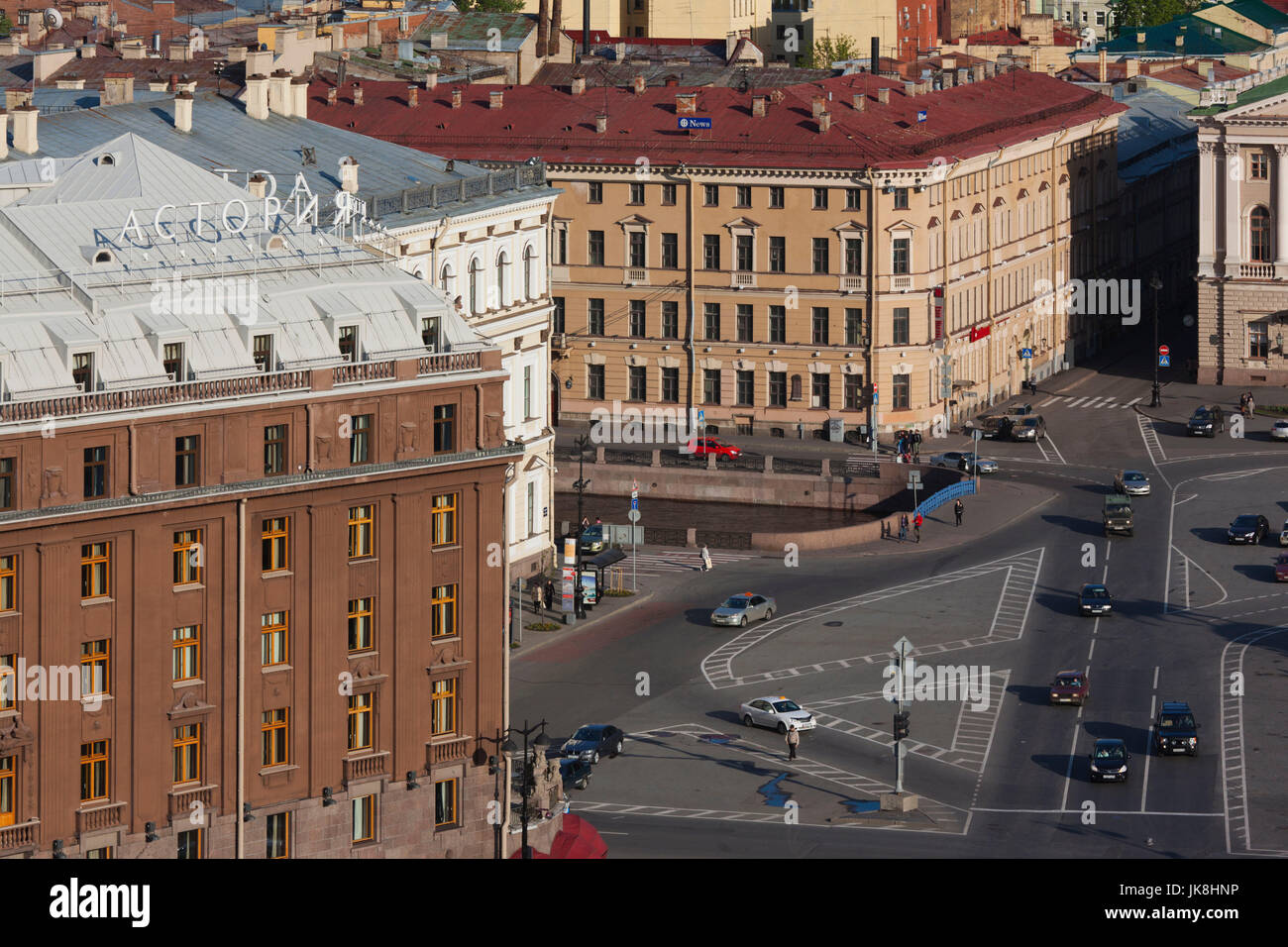 Russia, Saint Petersburg, Center, elevated view of the Astoria Hotel from St. Isaac Cathedral - Stock Image