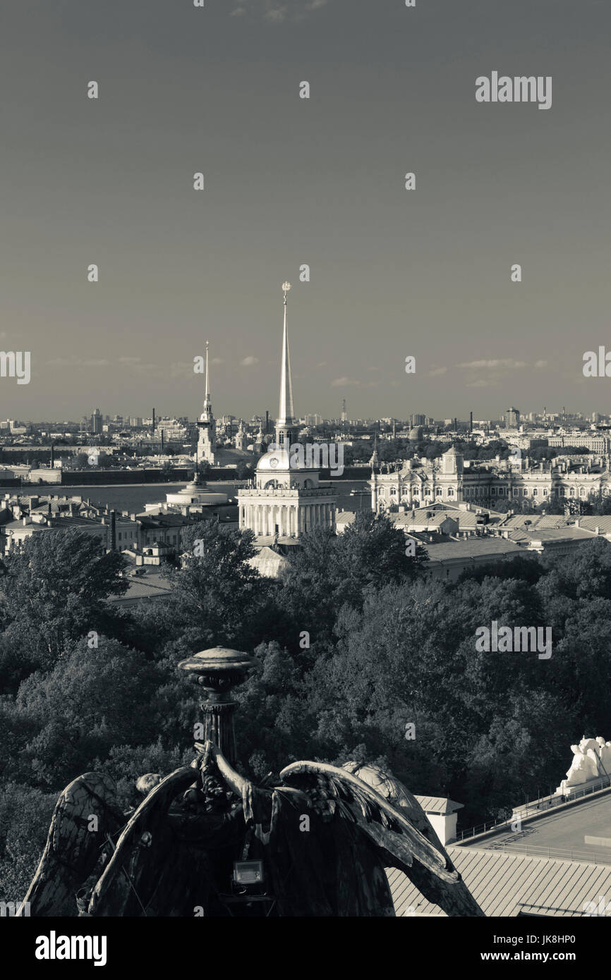 Russia, Saint Petersburg, Center, elevated view of Peter and Paul Cathedral, Admiralty, and Hermitage Museum from - Stock Image