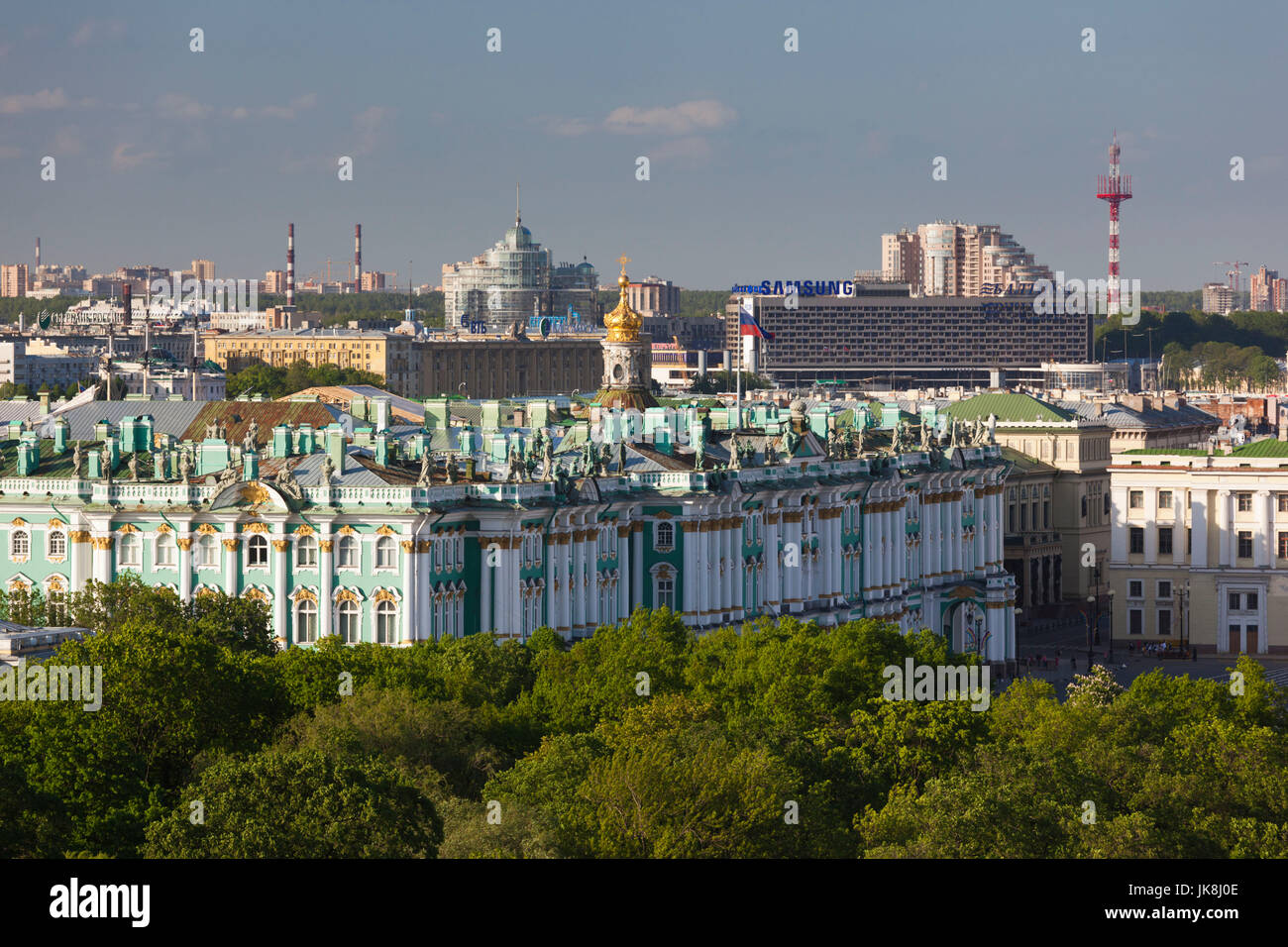 Russia, Saint Petersburg, Center, view of the Hermitage Museum from St. Isaac Cathedral - Stock Image