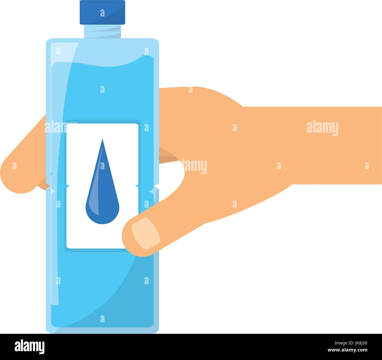 Hand with water bottle - Stock Vector