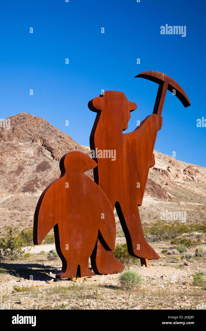 USA, Nevada, Great Basin, Beatty, Rhyolite Ghost Town, Goldwell Open Air Museum, Tribute to Shorty Harris by Fred - Stock Image