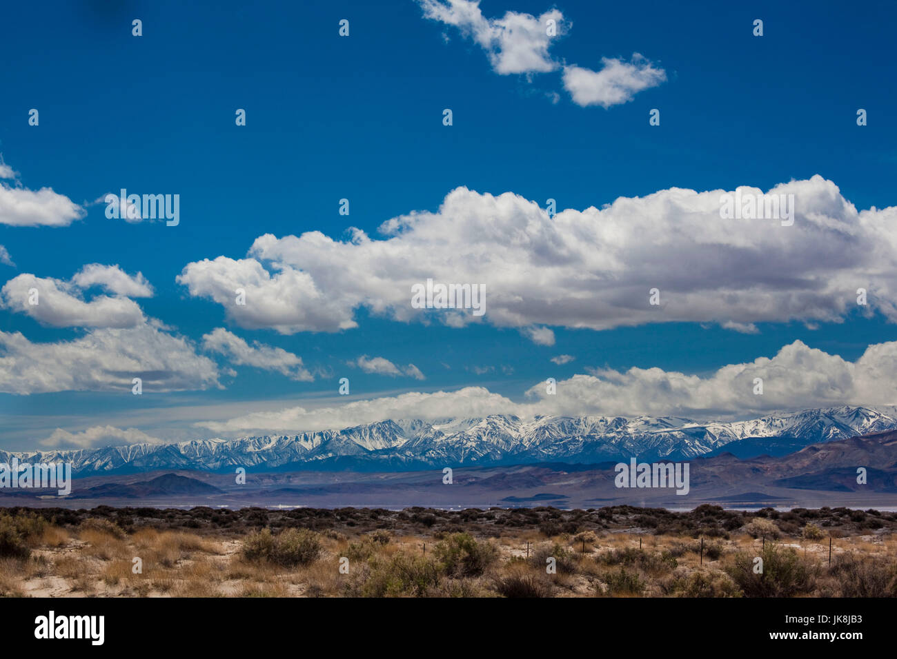 USA, Nevada, Great Basin, Tonopah, view of the Sierra Nevada Mountains from Highway 95 Stock Photo