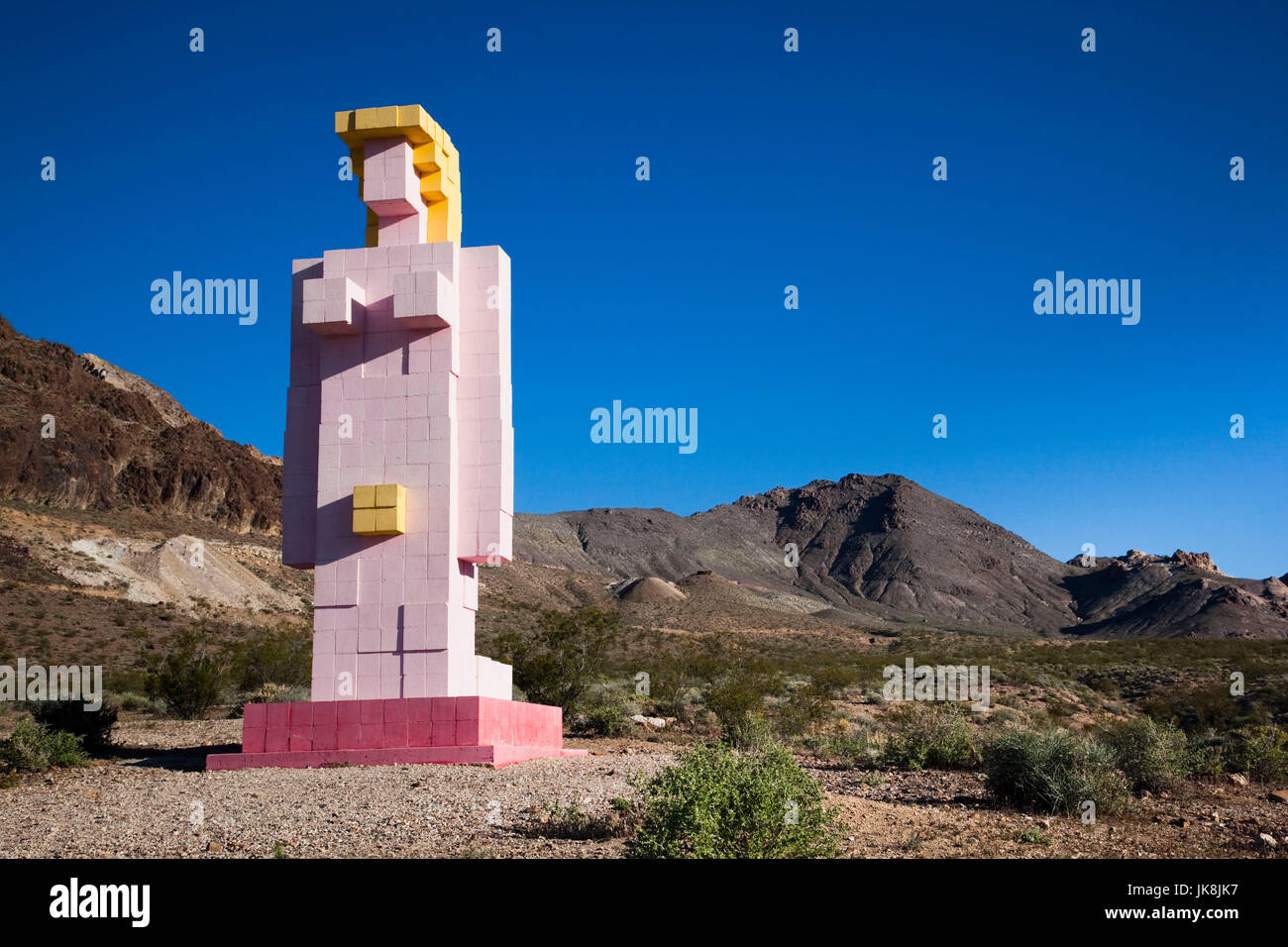 USA, Nevada, Great Basin, Beatty, Rhyolite Ghost Town, Goldwell Open Air Museum, Lady Desert by Dr. Hugo Heyrmann - Stock Image