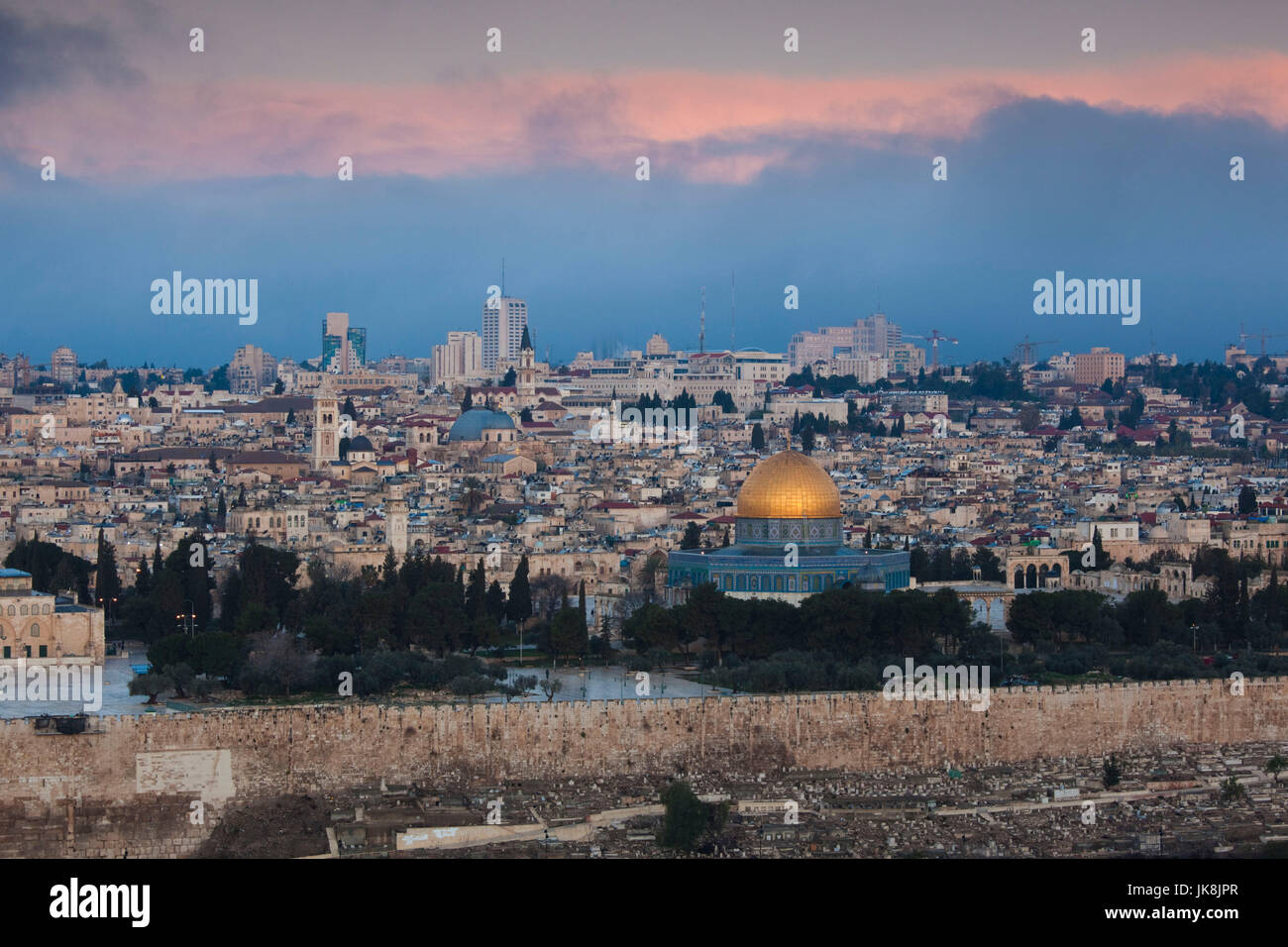 Israel, Jerusalem, elevated city view with Temple Mount and Dome of the Rock from the Mount of Olives, dawn - Stock Image