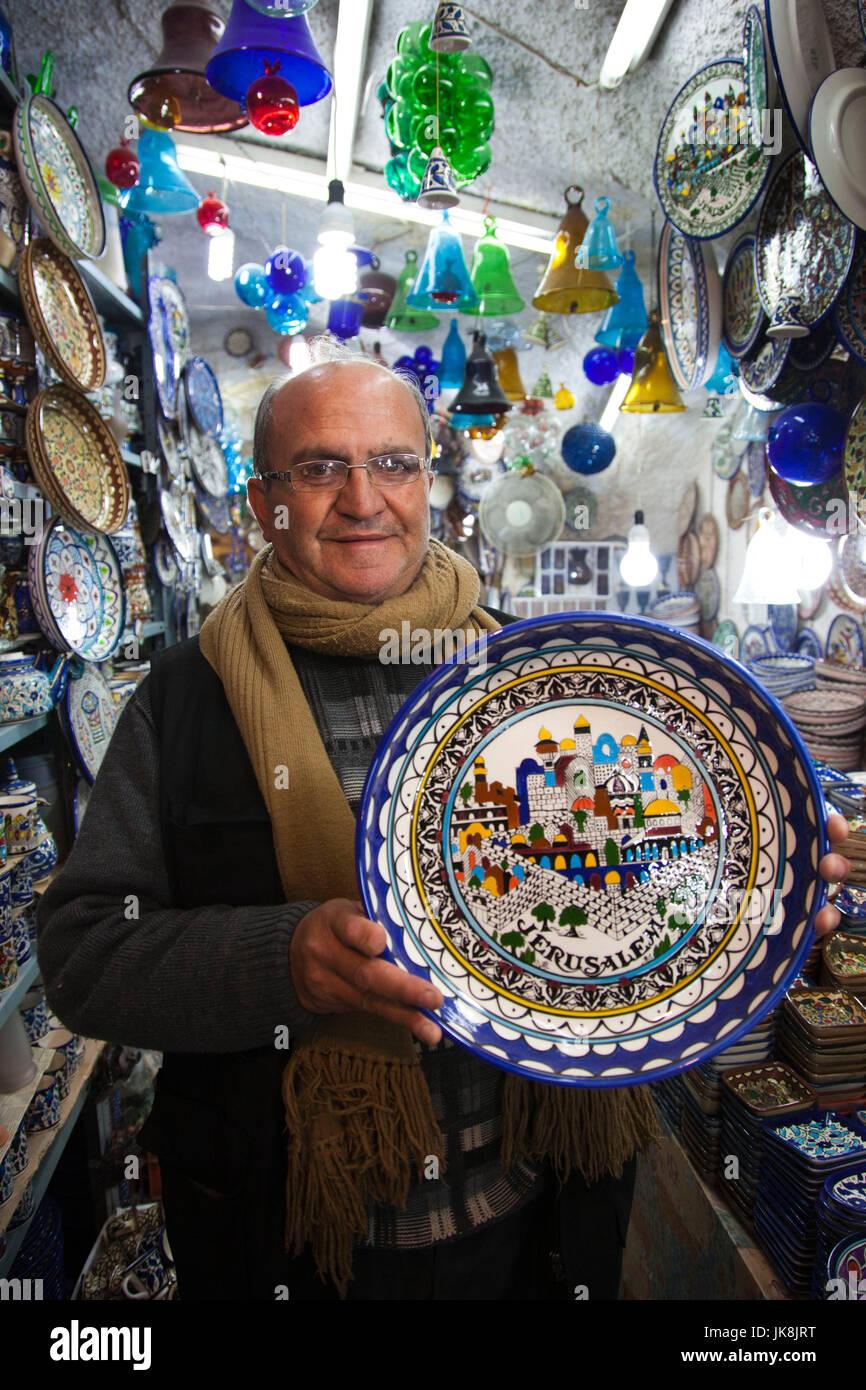 Israel, Jerusalem, Old City, souvenir shop owner, R, MR_ISL_11_002 - Stock Image