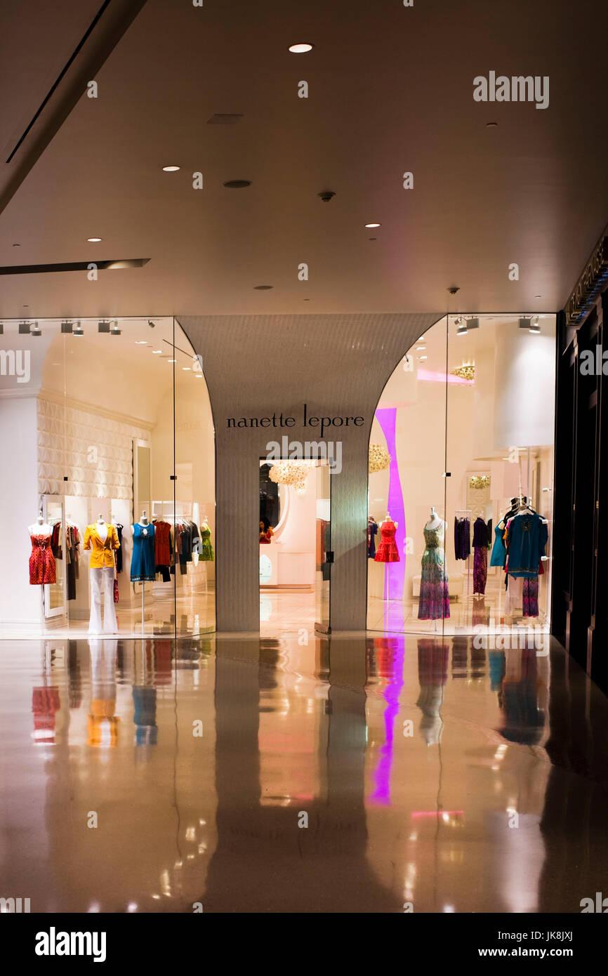 USA, Nevada, Las Vegas, CityCenter, Crystals Luxury Mall, store window of Nanette Lepore - Stock Image