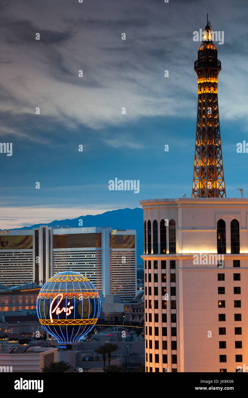 USA, Nevada, Las Vegas, high vantage view of The Strip, Las Vegas Boulevard and Eiffel Tower of the Paris Las Vegas Stock Photo
