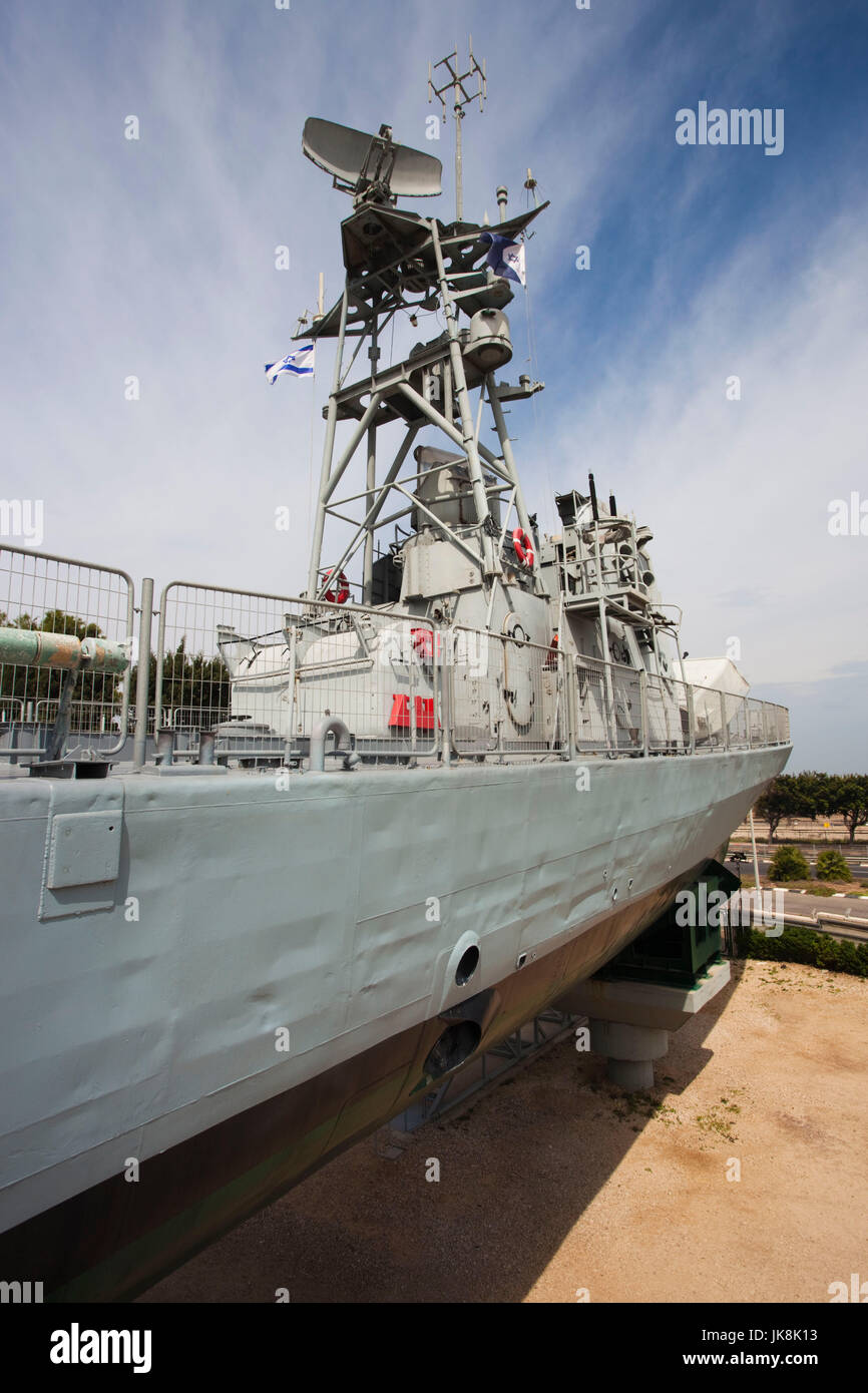 Israel, North Coast, Haifa, Clandestine Immigration and Naval Museum, INS Mivtach, first Israeli missile boat - Stock Image