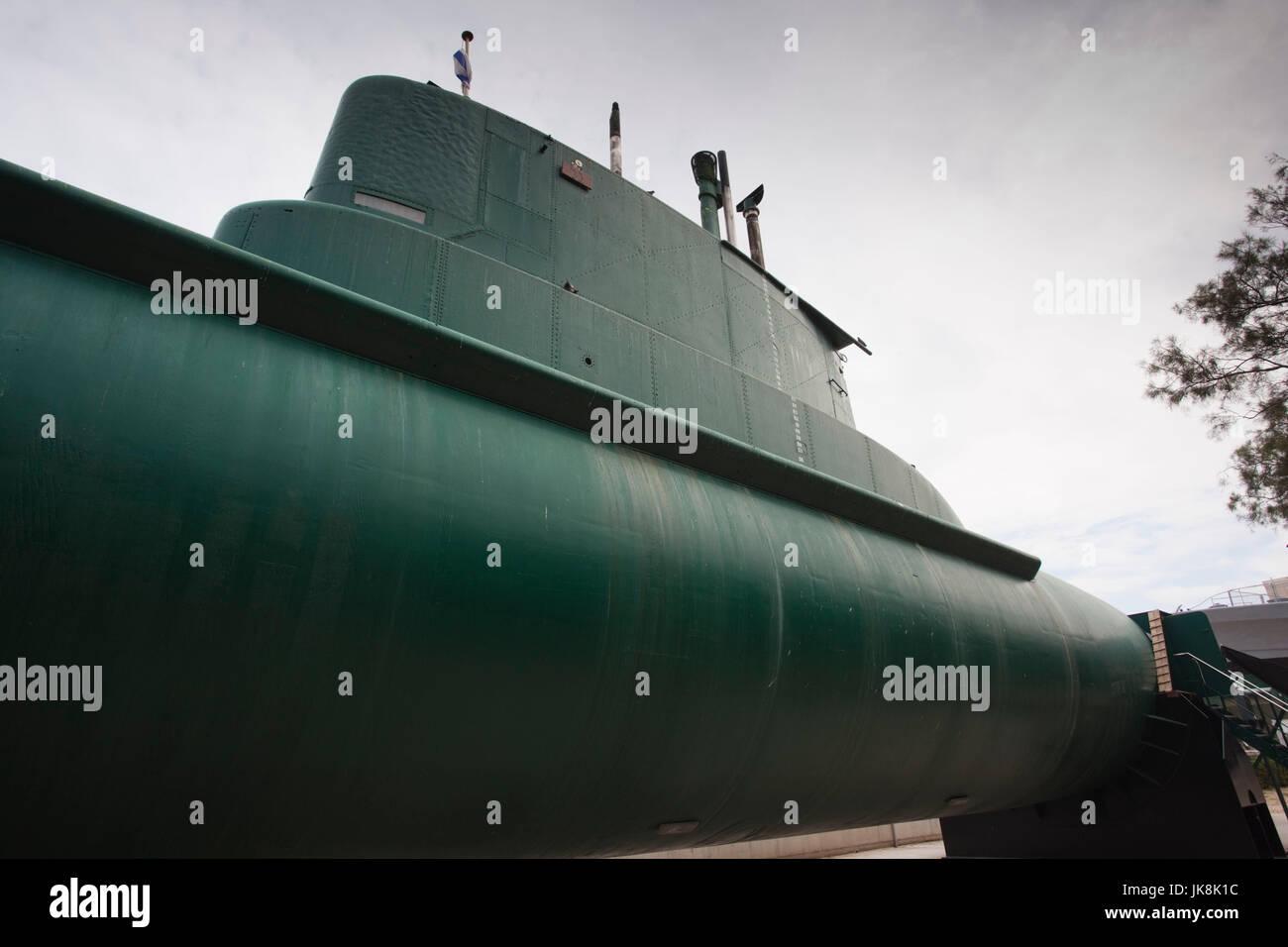 Israel, North Coast, Haifa, Clandestine Immigration and Naval Museum, INS Gal, first modern built Israeli submarine - Stock Image