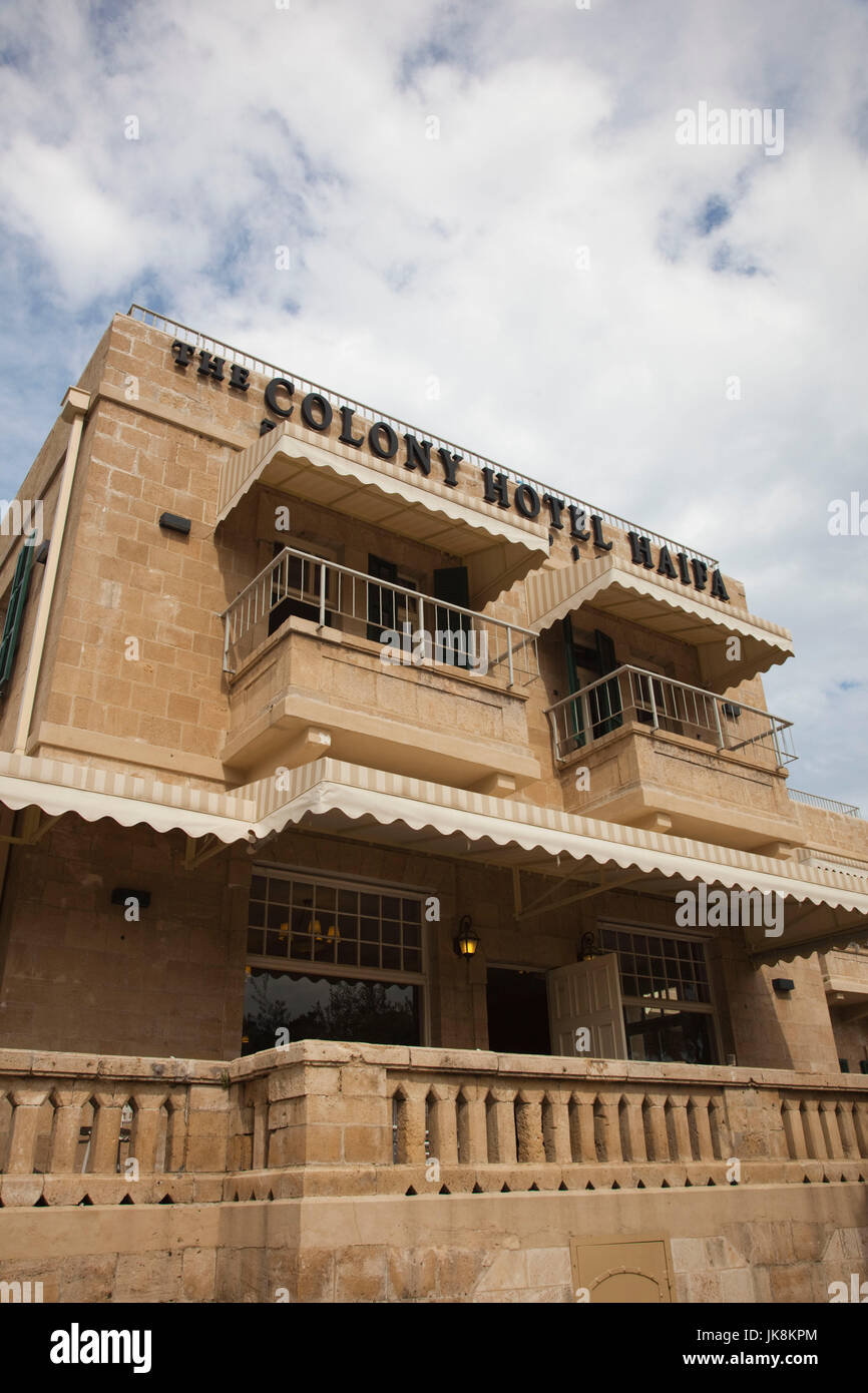 Israel, North Coast, Haifa, The German Colony, The Colony Hotel - Stock Image