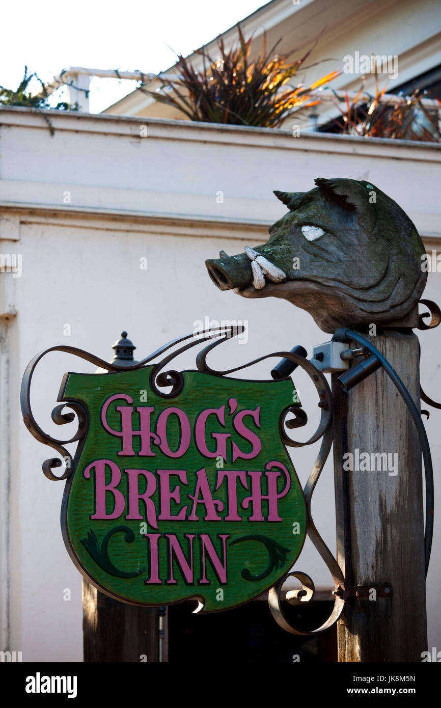USA, California, Central Coast, Carmel-By-The-Sea, sign for Hogs Breath Inn, restaurant owned by former mayor and - Stock Image
