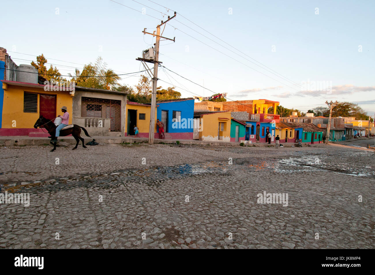 Cobblestone side street in Trinidad Cuba - Stock Image