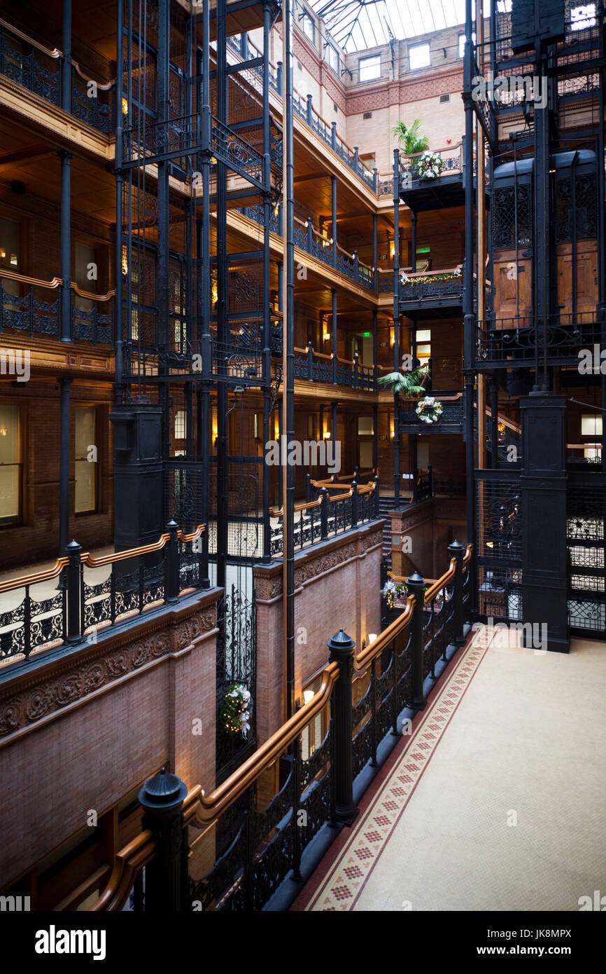 USA, California, Southern California, Los Angeles, interior of the Bradbury Building featured in the film Blade - Stock Image