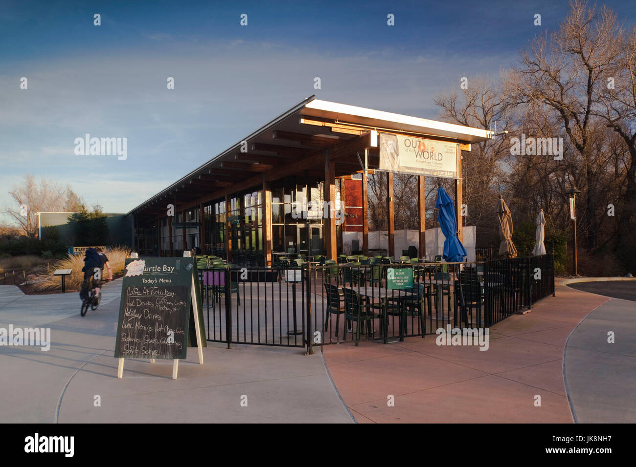 USA, California, Northern California, Northern Mountains, Redding, Turtle Bay Park cafe - Stock Image