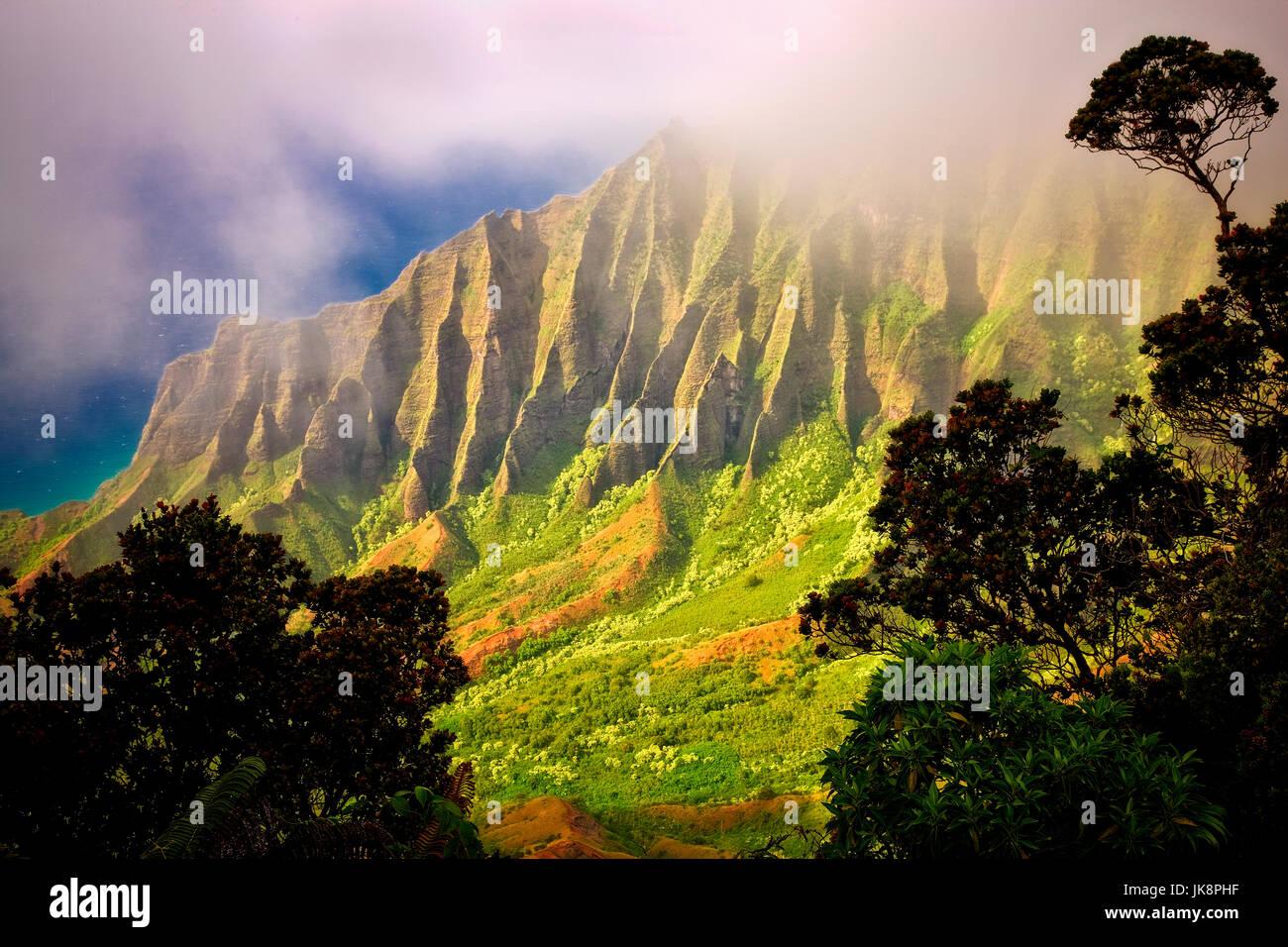 Kalalau Valley with fog. Koke'e State Park. Waimea Canyon. Kauai, Hawaii - Stock Image