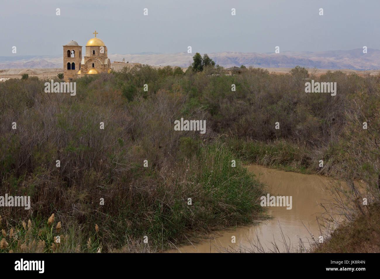 Jordan, Jordan River Valley, Bethany-Beyond-The-Jordan-Al-Maghtas, Baptismal site of Jesus Christ, churches on the - Stock Image