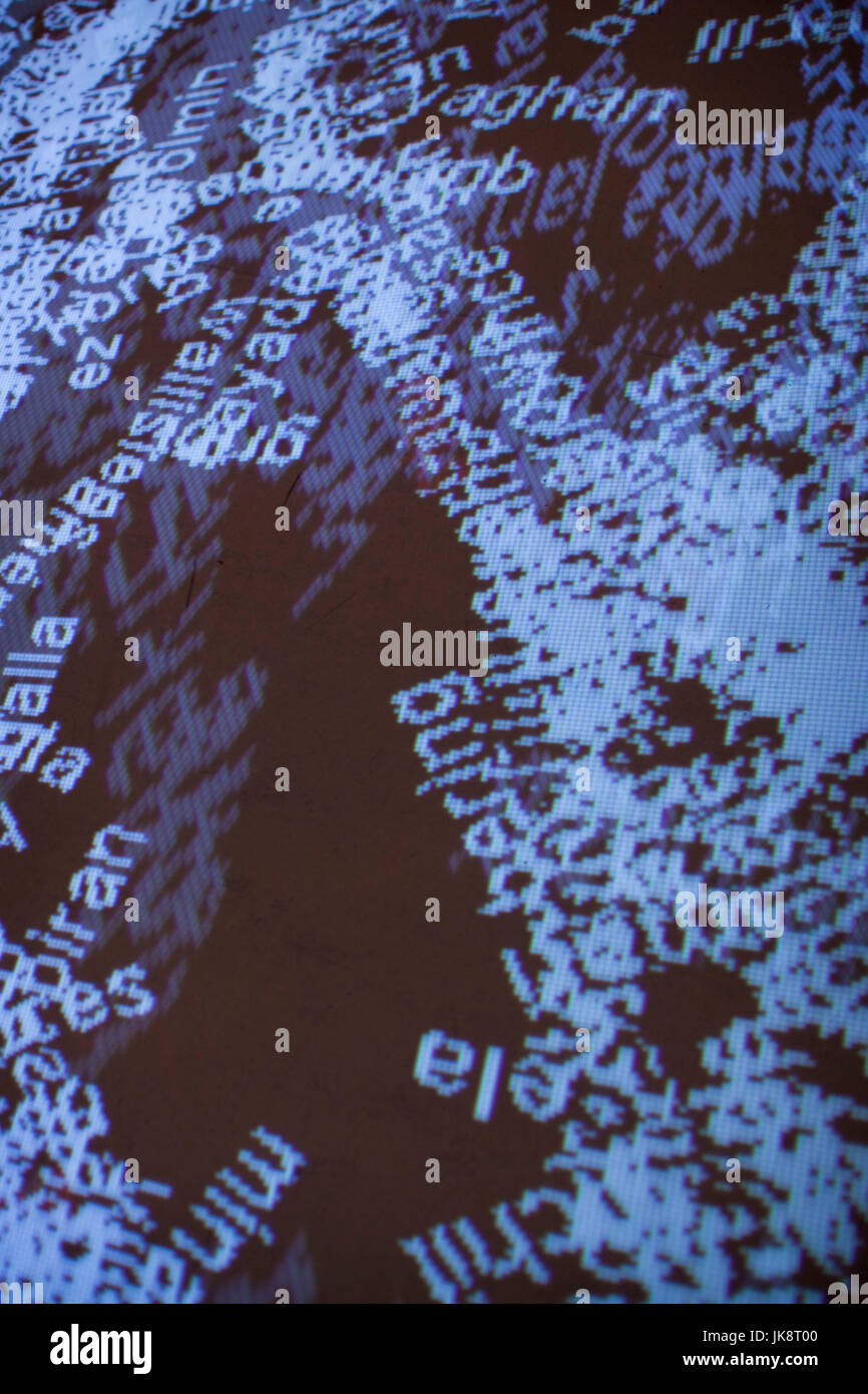 France, Paris, Musee du Quai Branly museum, River of Words, projected installation - Stock Image