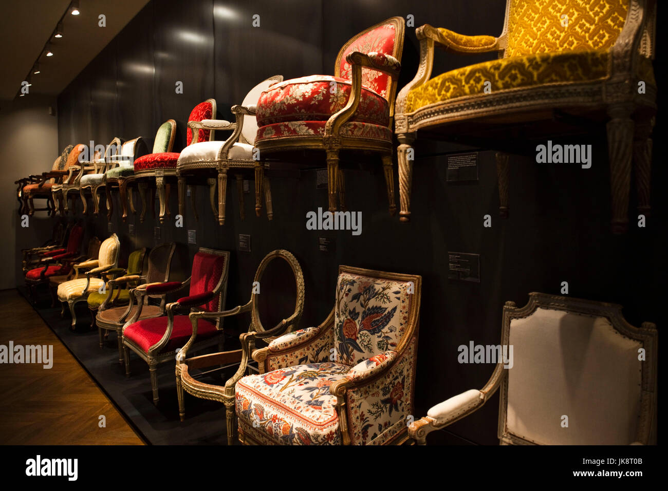 France, Paris, Museum of Decorative Art, exhibit of 18th and 19th century chairs Stock Photo