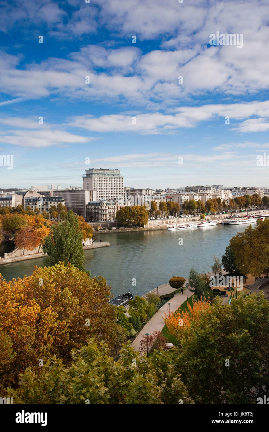 France, Paris, elevated view of the Seine River from the Institute du Monde Arabe, Arabian World Instutute - Stock Image