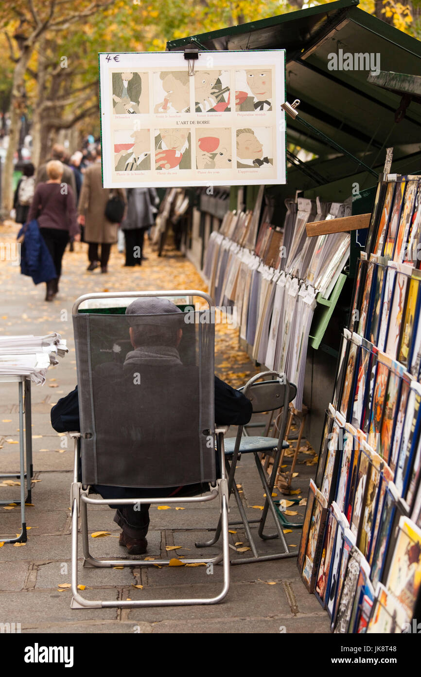 France, Paris, Left Bank, Quai St-Michel, bookseller, NR - Stock Image