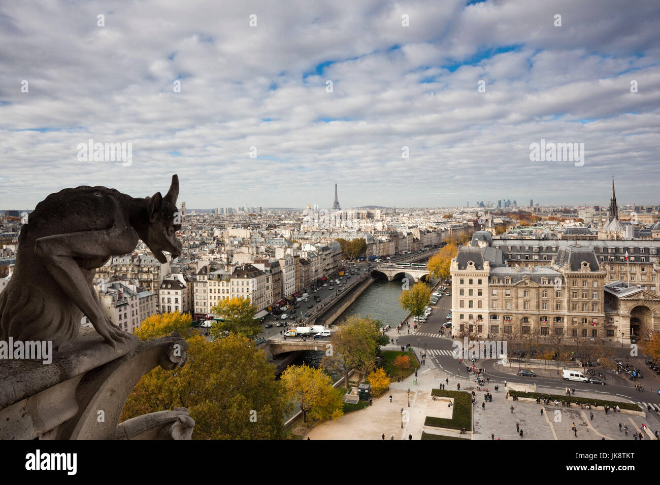 France, Paris, elevated city view from the Cathedrale Notre Dame cathedral with gargoyles - Stock Image
