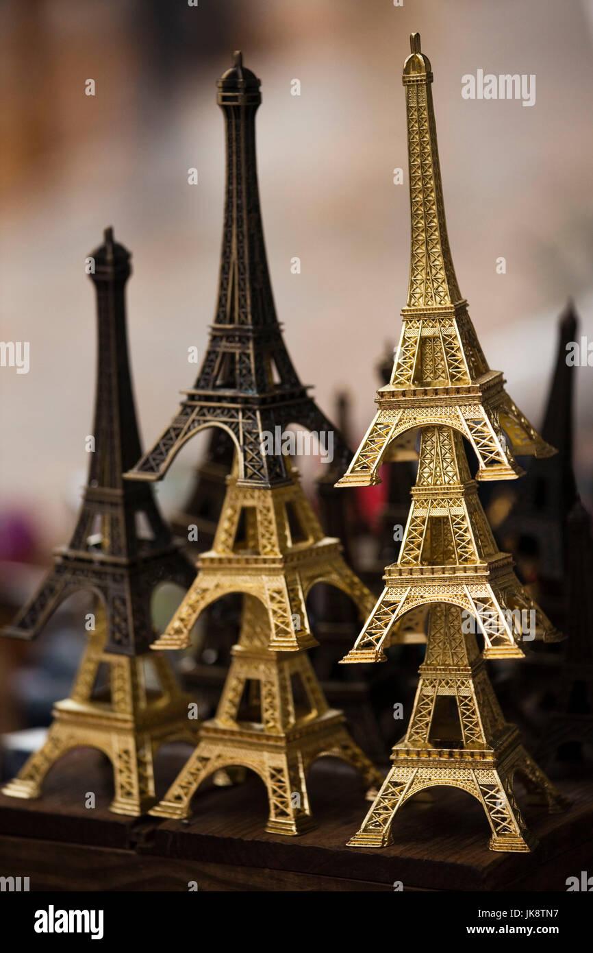 France, Paris, Left Bank, souvenir Eiffel Towers - Stock Image