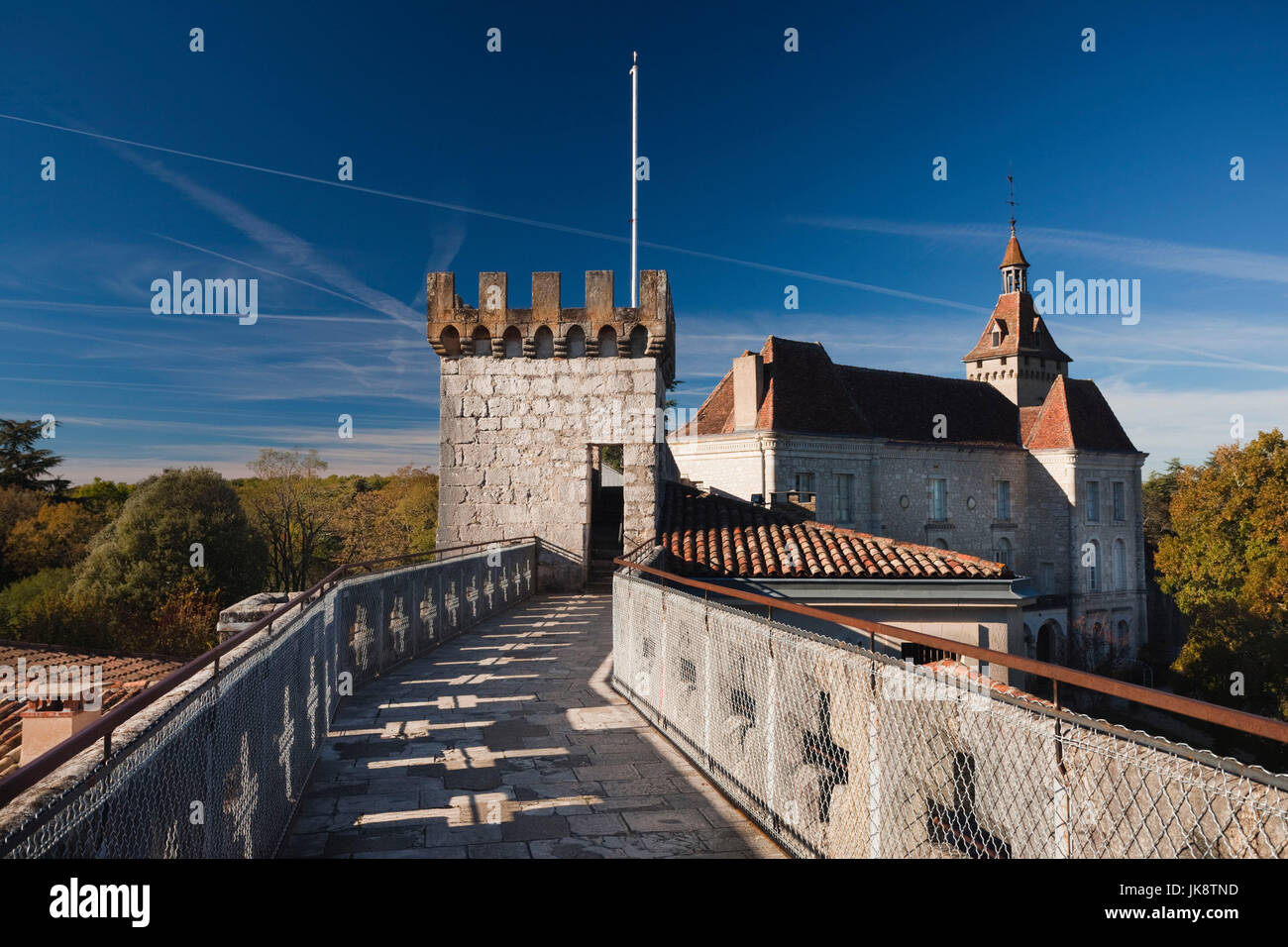 France, Midi-Pyrenees Region, Lot Department, Rocamador, chateau ramparts Stock Photo
