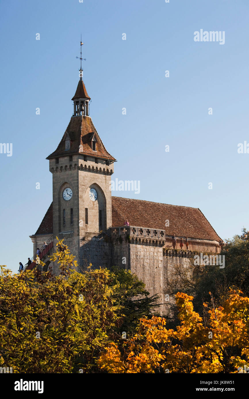 France, Midi-Pyrenees Region, Lot Department, Rocamador, upper town chateau Stock Photo