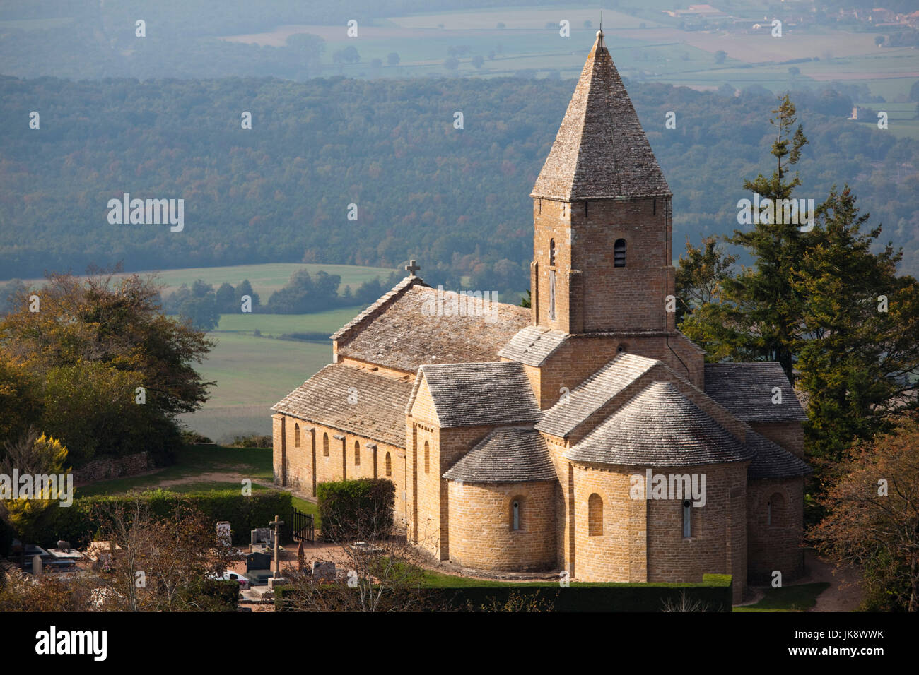 France, Saone-et-Loire Department, Burgundy Region, Maconnais Area, Brancion, Eglise St-Pierre church - Stock Image