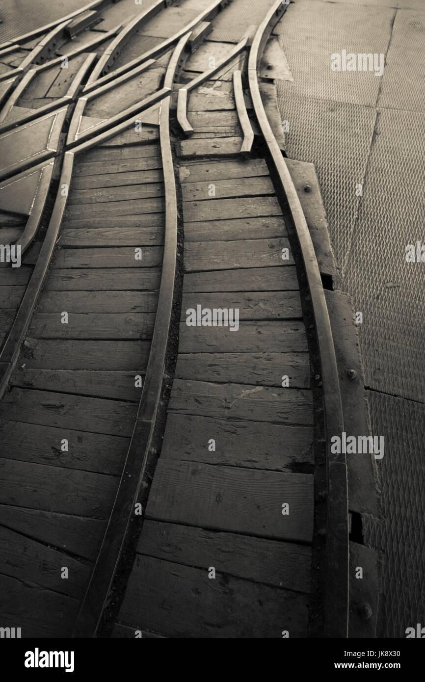 France, Loire Department, Rhone-Alpes Region, St-Etienne, Puits Couriot Mine Museum, rail tracks - Stock Image