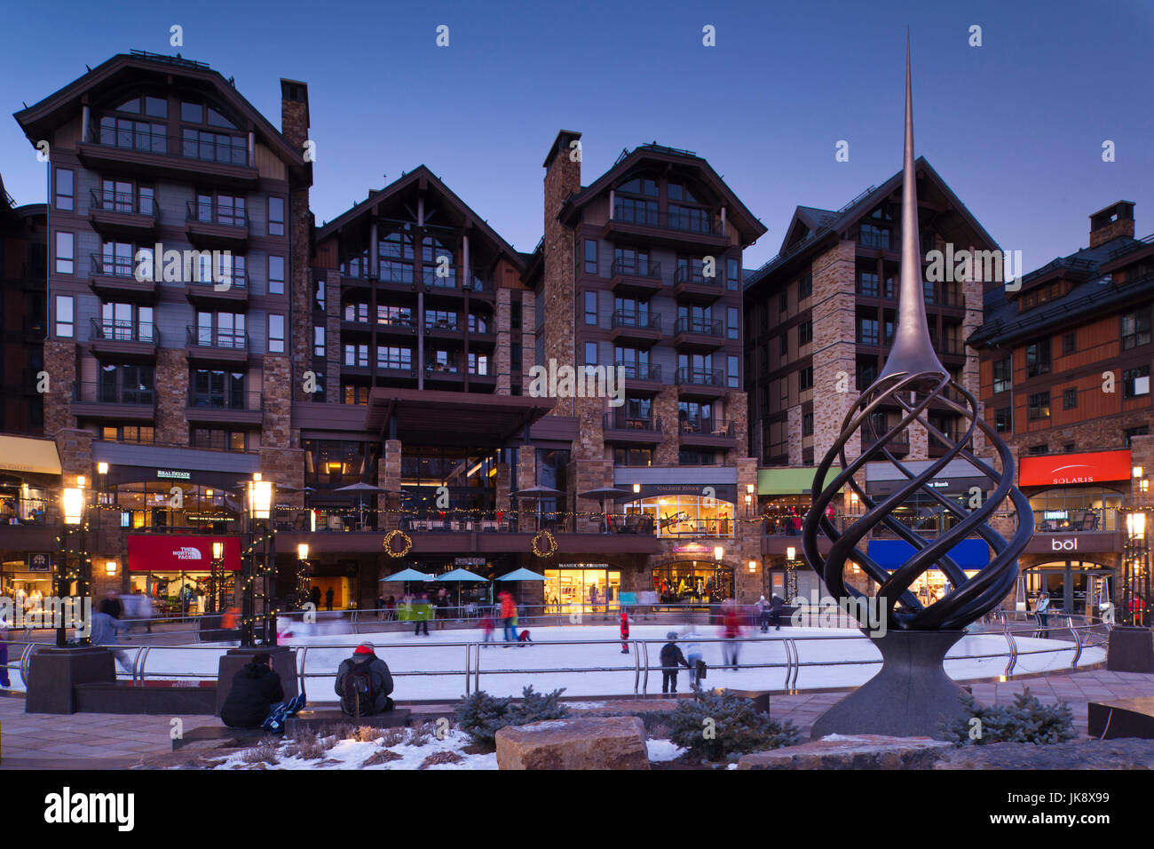 USA, Colorado, Vail, Vail Village Ice Rink at The Lionshead Complex, dusk - Stock Image