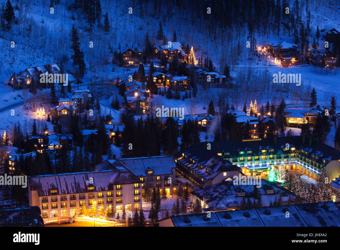 USA, Colorado, Vail, elevated view of Vail Cascade Resort Hotel, dusk, winter - Stock Image