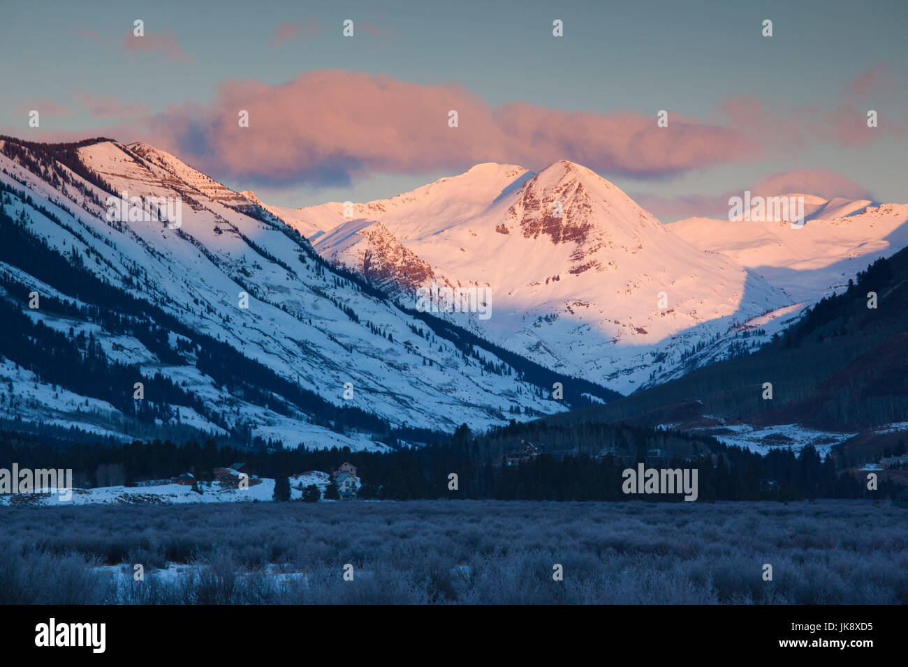USA, Colorado, Crested Butte, Ruby Range Mountains, dawn - Stock Image