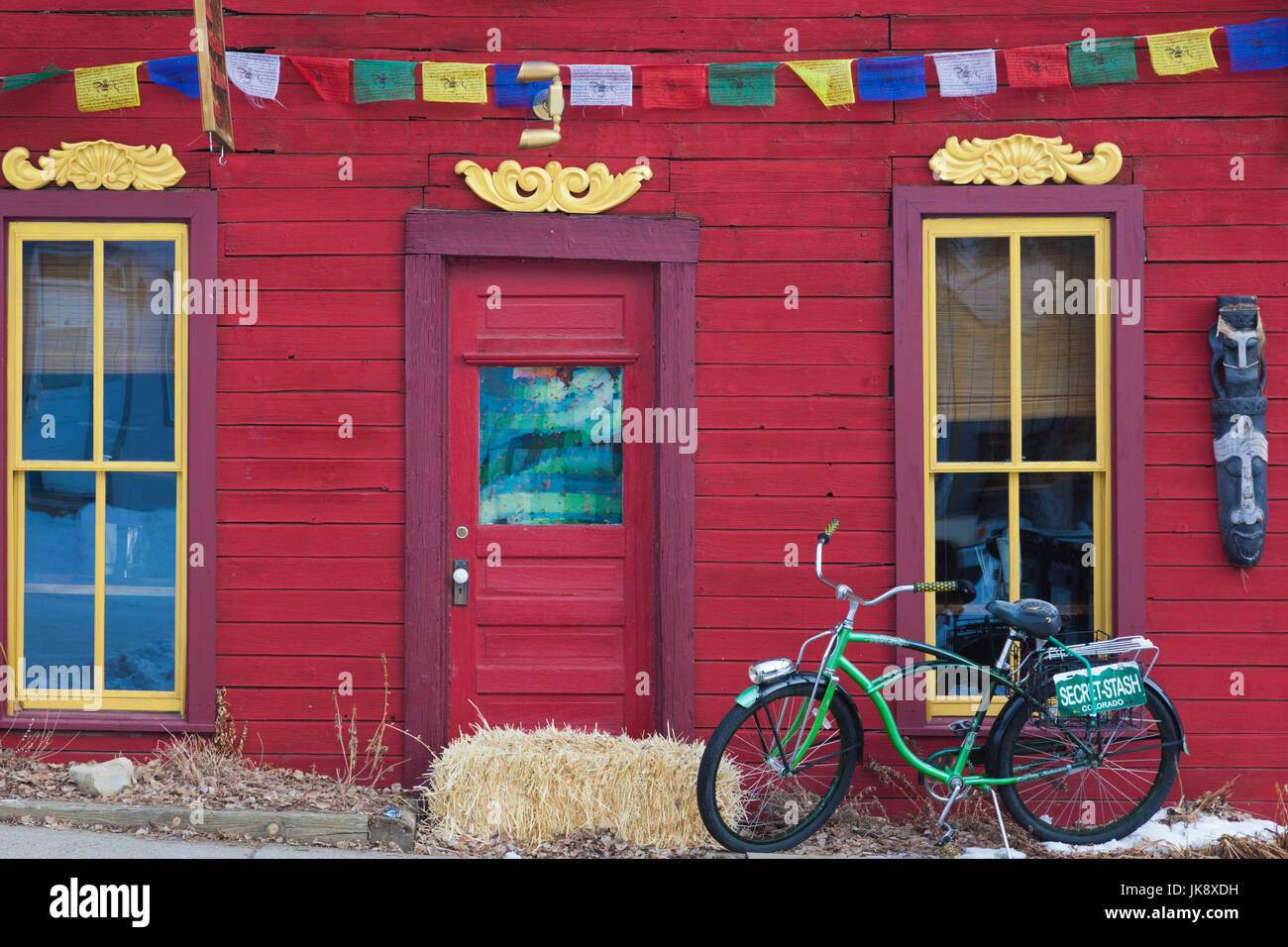 USA, Colorado, Crested Butte, Tibetan Prayer Flags - Stock Image