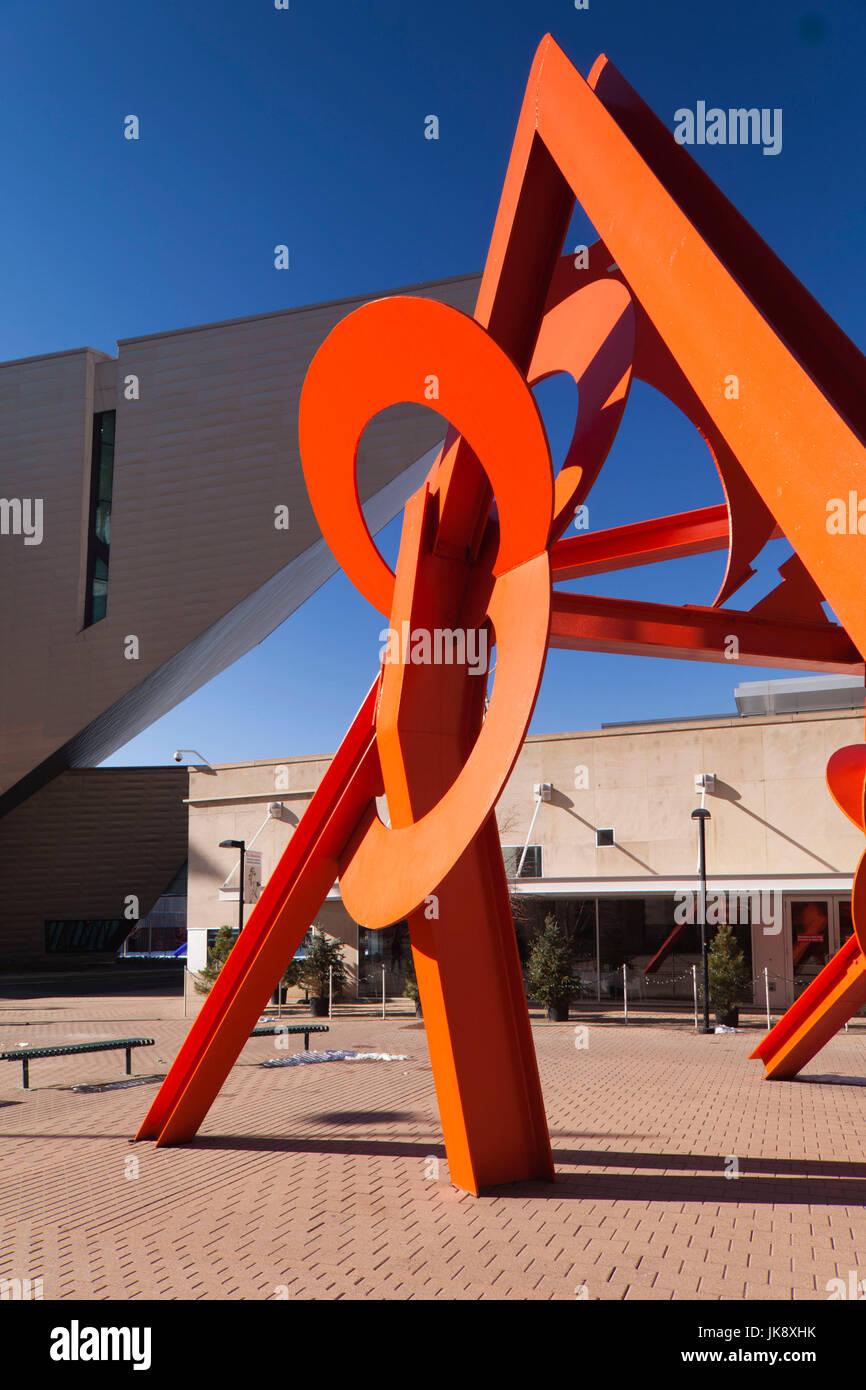 USA, Colorado, Denver, Lao Tzu, sculpture by Mark di Suvero, outside the Denver Public Library in Acoma Plaza - Stock Image